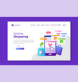 landing page template online shopping modern vector image