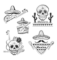 Mexican set of labels and stickers with icons vector image