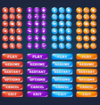 mobile game ui collection of icong and buttons vector image vector image