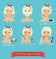 Morning face care routine Everyday Skincare and vector image vector image