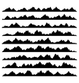 Mountain Panoramic Silhouettes Set on White vector image vector image