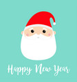 new year santa claus face head round icon merry vector image vector image