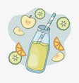 orange and cucumber juice bottle with straw vector image
