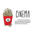 pop corn in large red paper box cinema box with vector image vector image