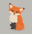 pretty red fox sitting vector image vector image