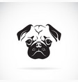 pug dog face on white background pet animals easy vector image