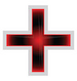 red and black greek cross on a white background vector image vector image