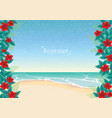 red hibiscus with green leaf frame on beach vector image vector image