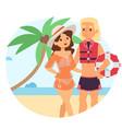 resting woman near beach lifeguard character vector image vector image