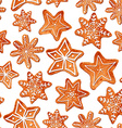 Seamless pattern of watercolor gingerbread cookies vector image vector image