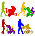 set black silhouettes family with pram on white vector image vector image