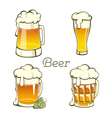 Set of vintage Beer in glass and mug vector image