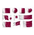 set qatar flags banners banners symbols flat vector image