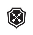 shield with arrows - black icon on white vector image vector image