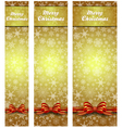 Snowflakes Christmas Web Banners Gold Vertical vector image