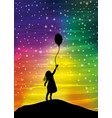 the girl with the balloon on the sky vector image vector image