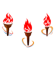 Three torches with fire flames vector image vector image