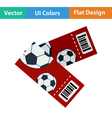 Two football tickets icon vector image