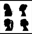 women face women side face silhouette vector image