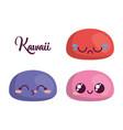 kawaii cartoon faces icon vector image