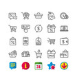 shopping line icons gifts wallet and sale vector image