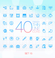 40 Trendy Thin Icons for web and mobile Set 15 vector image
