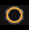 abstract yellow metal circle on black vector image vector image
