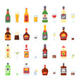 alcohol drinks in bottles cocktail glasses whiskey vector image vector image