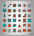 banking and financial color line icons perfect vector image vector image