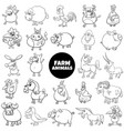 black and white cartoon farm animal characters vector image vector image
