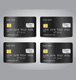 black credit cards set with abstract black chrome vector image vector image