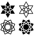 black star flower symbols vector image vector image