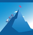 businessmen climb mountain success teamwork vector image