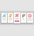 canoeing onboarding elements icons set vector image vector image