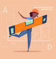 cartoon woman builder holding carpenter level vector image vector image