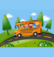 children riding on school bus in the park vector image vector image