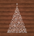Christmas pine made of snowflakes vector image vector image