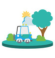 colorful agrimotor car in the city with tree and vector image vector image