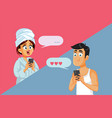 couple in long distance relationship text vector image