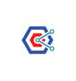 creative blue hexagon technology wires logo vector image