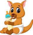 cute baby kangaroo cartoon vector image vector image