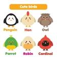 Cute birds icons set vector image vector image