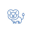 cute lion line icon concept cute lion flat vector image