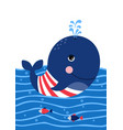 cute whale in a sailor suit poster for baby room vector image