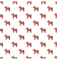 dala horse swedish symbol pattern seamless vector image