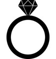 diamond engagement ring on white background vector image vector image