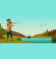 duck hunting background cartoon of vector image vector image