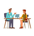 female patient talking to doctor in office vector image vector image