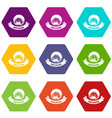 frame explosion icons set 9 vector image vector image