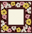 frame of hibiscus on brown background vector image vector image